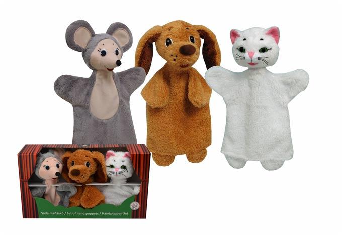 Conjunto Perro Gato y Ratón títeres de mano