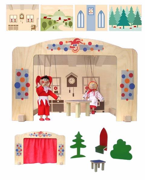Teatro Marionetas de madera Práctico