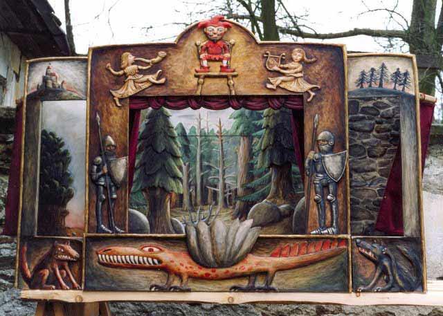 Teatro Marionetas de madera y 12 marionetas , Único!