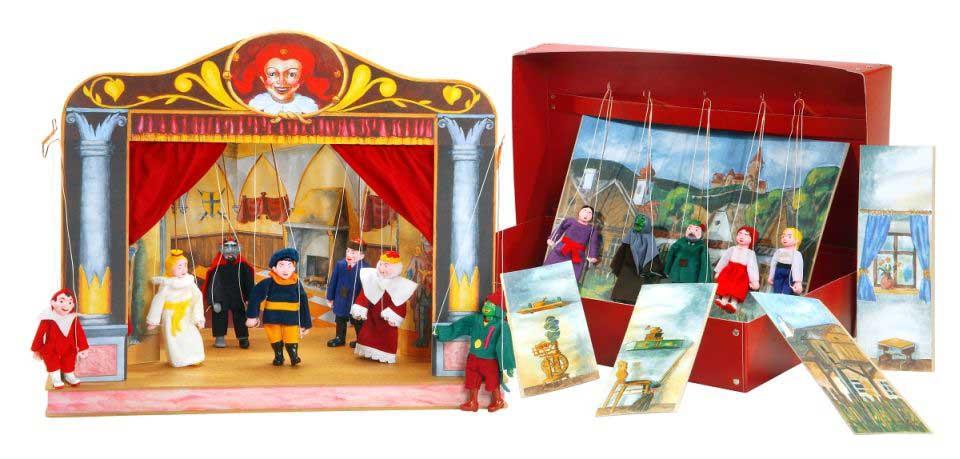 Teatro Marionetas de madera y 12 marionetas