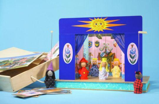 Teatro Marionetas de madera y 6 marionetas