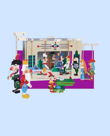 Teatro Marionetas de madera y 11 marionetas