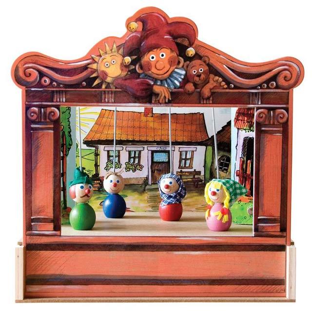 Teatro Marionetas de madera y 4 marionetas  , mini