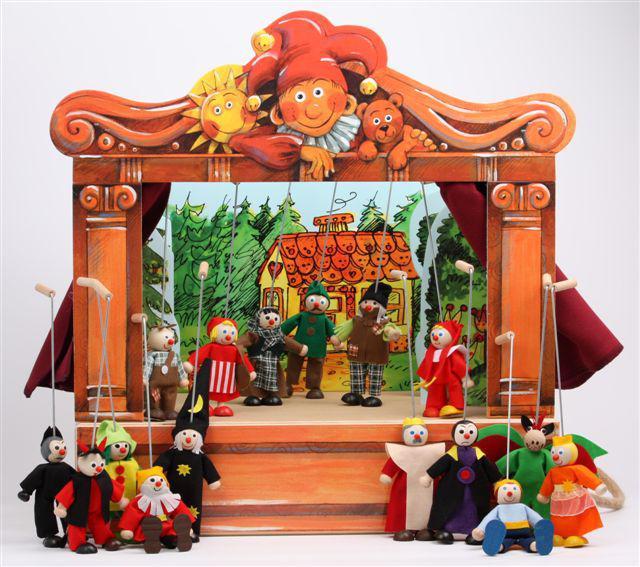 Teatro Marionetas de madera y 16 marionetas