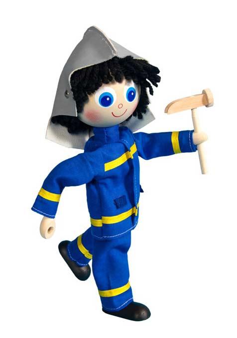 Bombero muñeca de madera