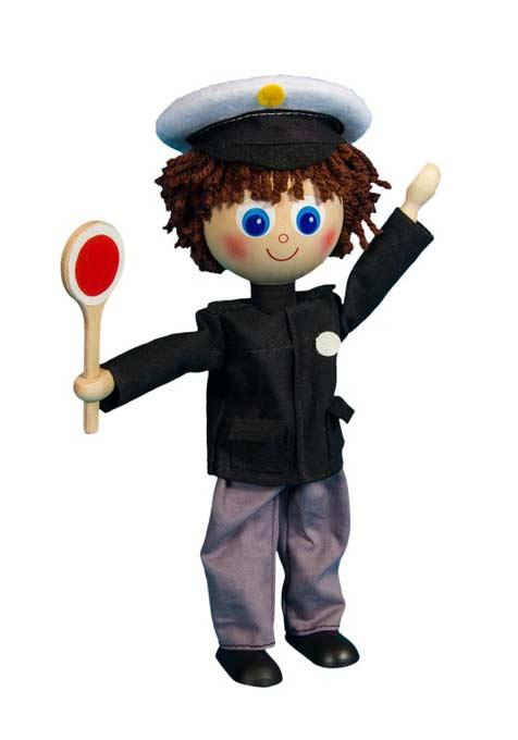 Policía muñeca de madera