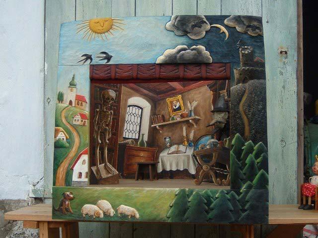 Teatro Marionetas de madera Campo