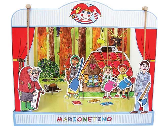 Teatro Marionetas cartón duro Hansel y Gretel