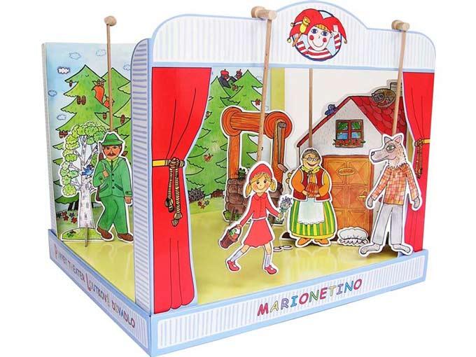 Teatro Marionetas cartón duro Caperucita Roja