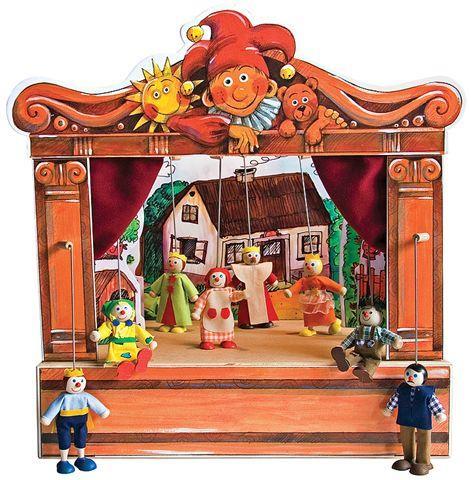 Teatro Marionetas de madera y 8 marionetas